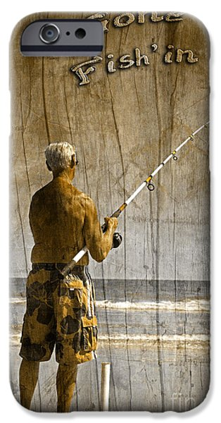 Water In Caves iPhone Cases - Gone Fishin with Text Driftwood by John Stephens iPhone Case by John Stephens