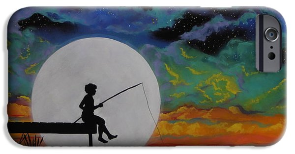 Moonscape iPhone Cases - Gone Fishing iPhone Case by Cynthia Ring
