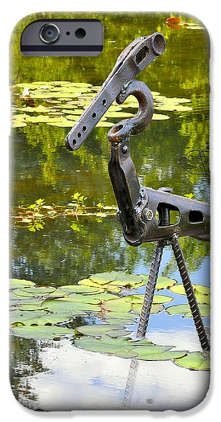 Birds Sculptures iPhone Cases - Gone Fishing iPhone Case by Ric Pollock