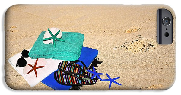 Beach Towel iPhone Cases - Gone Swimming iPhone Case by Kaye Menner