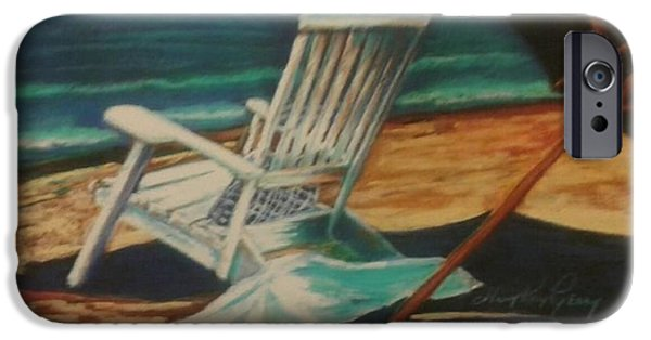 Umbrella Pastels iPhone Cases - Gone Swimming iPhone Case by Mary Kay Geary