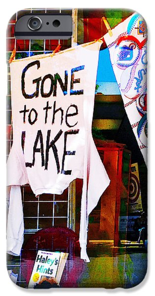 Cabin Window Digital iPhone Cases - Gone To The Lake iPhone Case by Susan Stone
