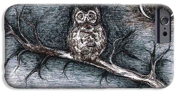 Feed Drawings iPhone Cases - Strange Night Owl iPhone Case by Teresa White