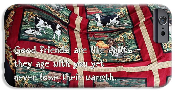 Winter Scene Tapestries - Textiles iPhone Cases - Good Friends Are Like Quilts iPhone Case by Barbara Griffin