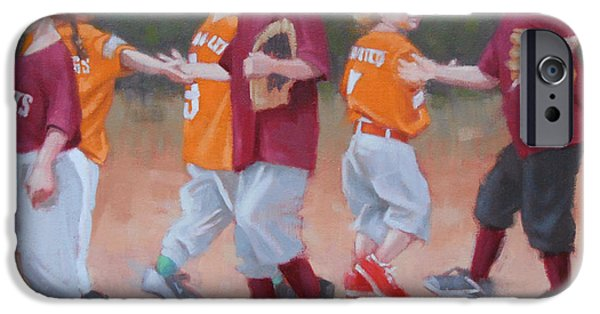 Baseball Uniform Paintings iPhone Cases - Good Game 2 of 2 iPhone Case by Todd Baxter