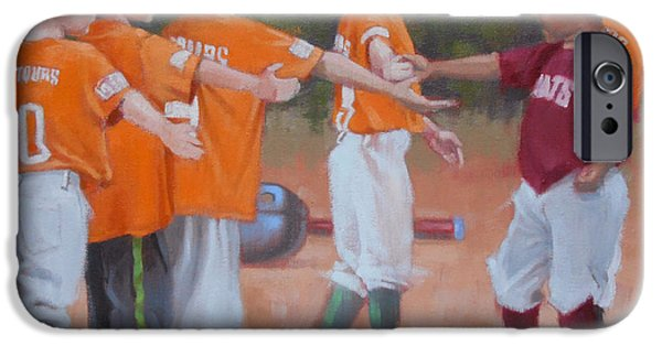 Baseball Uniform Paintings iPhone Cases - Good Gme 1 of 2 iPhone Case by Todd Baxter