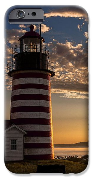 East Quoddy Lighthouse iPhone Cases - Good Morning West Quoddy Head Lighthouse iPhone Case by Marty Saccone