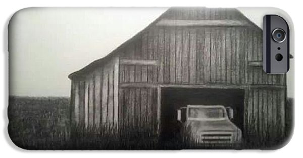 Old Barn Drawing iPhone Cases - Good Ole Days iPhone Case by Kimberly Matherly