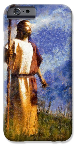 Christian Art iPhone Cases - Good Shepherd iPhone Case by Christian Art