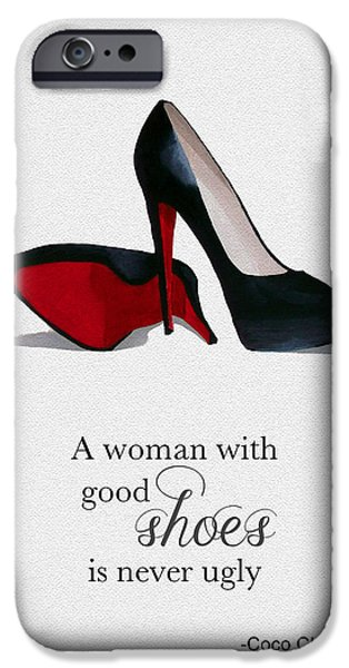 Original Mixed Media iPhone Cases - Good Shoes iPhone Case by Rebecca Jenkins
