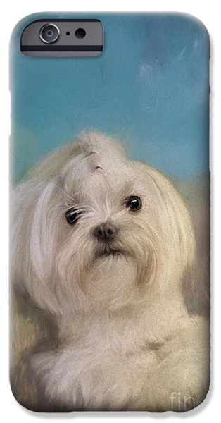 Puppy Digital Art iPhone Cases - Good Things Come In Small Packages iPhone Case by Lois Bryan