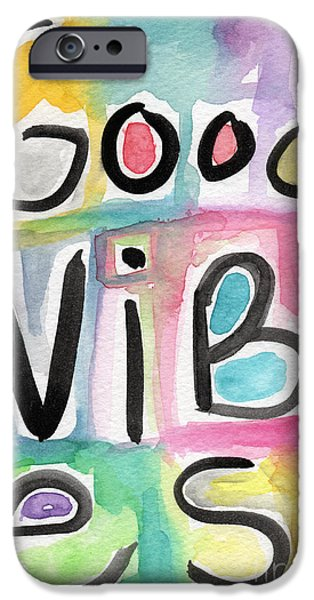 Sign iPhone Cases - Good Vibes iPhone Case by Linda Woods