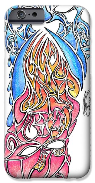 Crying Drawings iPhone Cases - Good Vs Evil iPhone Case by Minding My  Visions by Adri and Ray