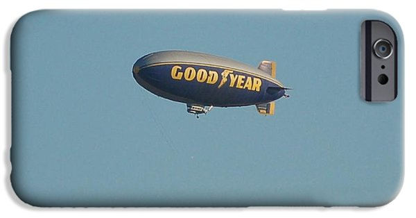 Dismantled iPhone Cases - The Spirit of America 2002 2015 Good Year Blimp iPhone Case by Linda Brody