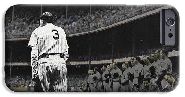 Baseball Glove iPhone Cases - Goodbye Babe Ruth Farewell iPhone Case by Tony Rubino