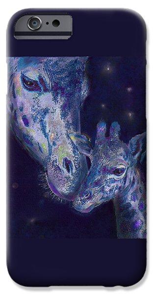 Giraffe Digital iPhone Cases - Goodnight Giraffes iPhone Case by Jane Schnetlage
