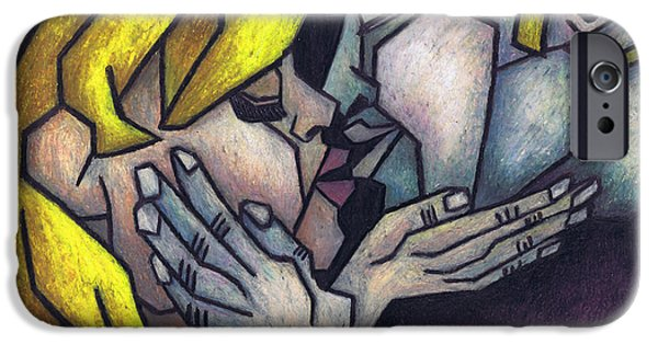 Fine Art Abstract Pastels iPhone Cases - Goodnight Kiss iPhone Case by Kamil Swiatek