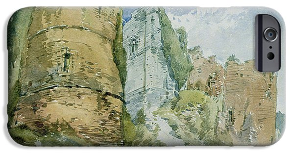 Landscapes Drawings iPhone Cases - Goodrich Castle iPhone Case by William Callow