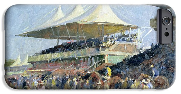 Stand iPhone Cases - Goodwood Oil On Canvas iPhone Case by Trevor Chamberlain