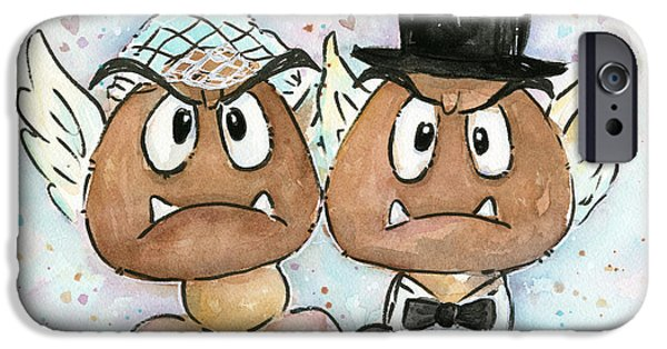 Fan Paintings iPhone Cases - Goomba Bride and Groom iPhone Case by Olga Shvartsur