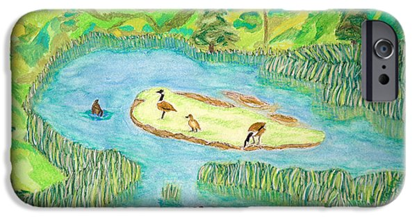 Canadian Geese Paintings iPhone Cases - Goose Heaven iPhone Case by Cora Eklund