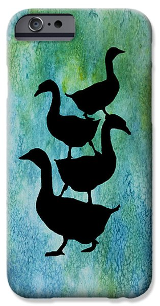 Geese iPhone Cases - Goose Pile on Aqua iPhone Case by Jenny Armitage