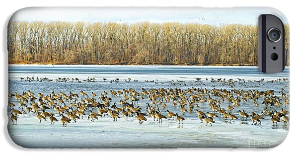 Wintertime iPhone Cases - Walking Very Carefully  On the Mississippi River iPhone Case by Luther   Fine Art