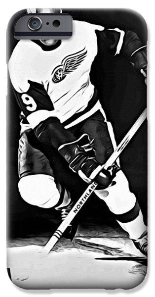 Mr. Hockey iPhone Cases - Gordie Howe iPhone Case by Florian Rodarte