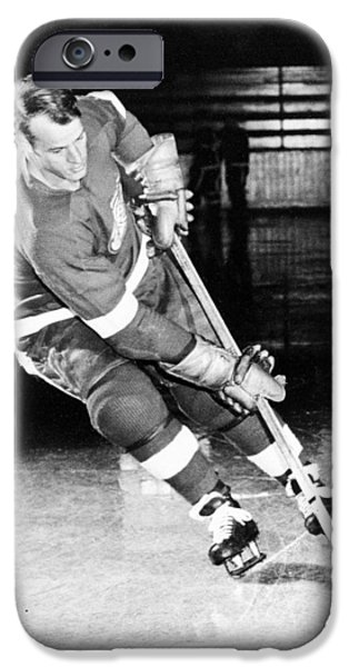 Crosses Photographs iPhone Cases - Gordie Howe skating with the puck iPhone Case by Gianfranco Weiss