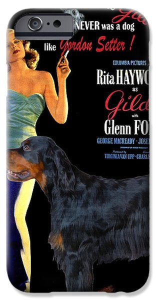 Gordon Setter iPhone Cases - Gordon Setter Art Canvas Print - Gilda Movie Poster iPhone Case by Sandra Sij