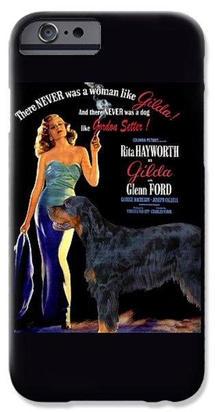 Gordon Setter iPhone Cases - Gordon Setter Art Canvas Print - Gilda Movie Poster iPhone Case by Sandra Sij