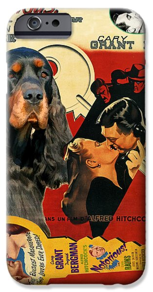 Gordon Setter iPhone Cases - Gordon Setter Art Canvas Print - Notorious Movie Poster iPhone Case by Sandra Sij