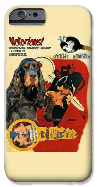 Gordon Setter iPhone Cases - Gordon Setter Art Canvas Print - Notorious Movie Poster iPhone Case by Sandra Sij