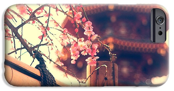 Bamboo Fence iPhone Cases - Gorgeous Pagoda and Plum Blossoms with Bamboo Fence iPhone Case by Beverly Claire Kaiya