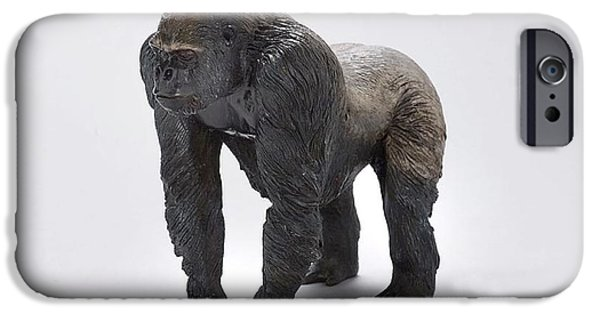 Silver Sculptures iPhone Cases - Gorilla iPhone Case by Victor Douieb