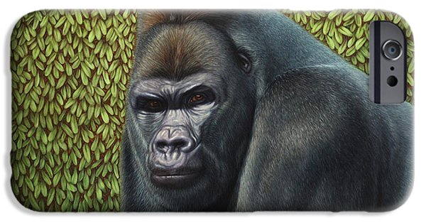 Ape iPhone Cases - Gorilla with a Hedge iPhone Case by James W Johnson