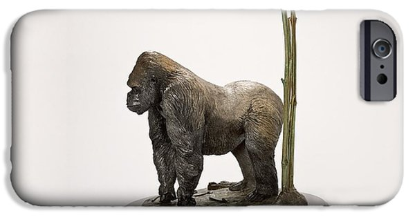 Silver Sculptures iPhone Cases - Gorilla with Bamboo iPhone Case by Victor Douieb