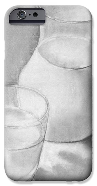 Monotone Drawings iPhone Cases - Got Milk iPhone Case by Phyllis Anne Taylor Pannet Art Studio