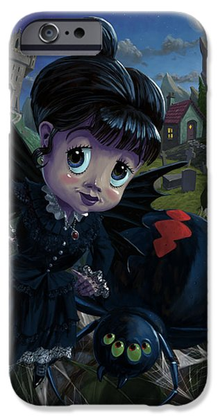 Black Spider iPhone Cases - Goth girl fairy with spider widow iPhone Case by Martin Davey