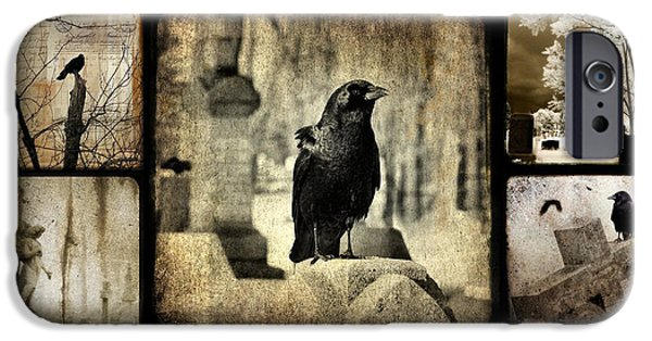 Old Churches iPhone Cases - Gothic and Crows iPhone Case by Gothicolors Donna Snyder
