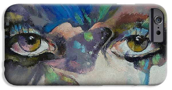 Portrait Paintings iPhone Cases - Gothic Butterflies iPhone Case by Michael Creese