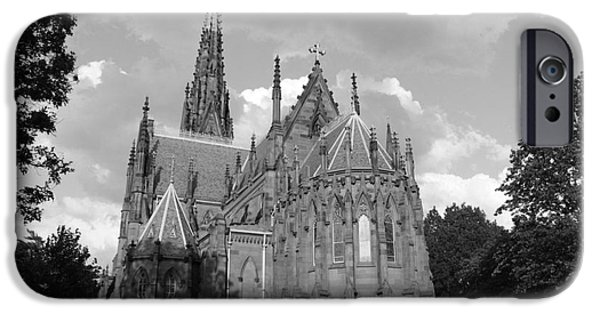 Eerie iPhone Cases - Gothic Church In Black and White iPhone Case by John Telfer