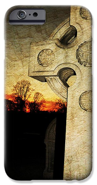 Headstones iPhone Cases - Gothic Cross iPhone Case by Paul Ward