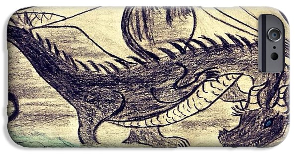 Eerie Drawings iPhone Cases - Gothic Dragon iPhone Case by Andrew Moreno