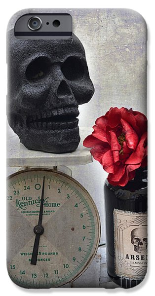 Photos With Red iPhone Cases - Gothic Fantasy Spooky Halloween Black Skull and Arsenic Bottle With Rose iPhone Case by Kathy Fornal