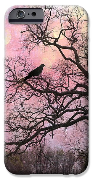Eerie iPhone Cases - Gothic Fantasy Surreal Nature - Haunting Pink Trees Limbs With Haunting Spooky Raven iPhone Case by Kathy Fornal