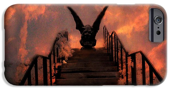 Crows iPhone Cases - Gothic Gargoyle On Staircase Into Clouds With Flying Ravens - Surreal Gothic Gargoyle and Ravens iPhone Case by Kathy Fornal