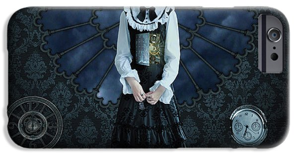 Clock iPhone Cases - Gothic Girl iPhone Case by Juli Scalzi