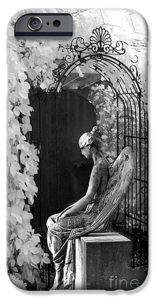 Gothic iPhone Cases - Gothic Surreal Black and White Infrared Angel Statue Sitting In Mourning Sadness Outside Mausoleum  iPhone Case by Kathy Fornal