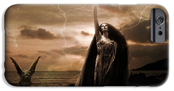 Eerie iPhone Cases - Gothic Surreal Fantasy Dark Haunting Female Figure In Black Cape With Gargoyle iPhone Case by Kathy Fornal